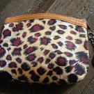 Brown Beige Leopard Cheetah Animal Print Pattern Coin Lipstick Purse Zipper Key Chain