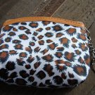 Brown White Leopard Cheetah Animal Print Pattern Coin Lipstick Purse Zipper Key Chain