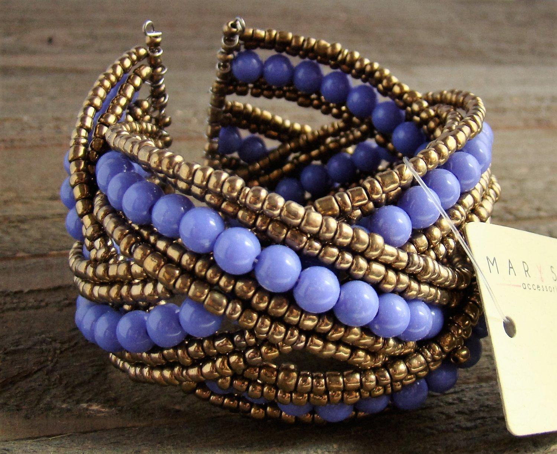 Purple Braided Crossed Plastic Gold Seed Bead Chunky Wide Cuff Bracelet Fashion Jewelry