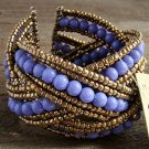Purple Braided Crossed Plastic Gold Seed Bead Chunky Wide Cuff Bracelet Fashion Jewelry