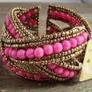 Pink Braided Crossed Plastic Gold Seed Bead Chunky Wide Cuff Bracelet Fashion Jewelry