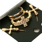 Size 10.5 Rhinestone Gold Tone Cross Stretch Ring Dangle Earrings Statement Jewelry Set