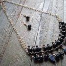Black Dangle Leaves Bead Boho Fashion Statement Bib Chain Necklace Earrings Jewelry