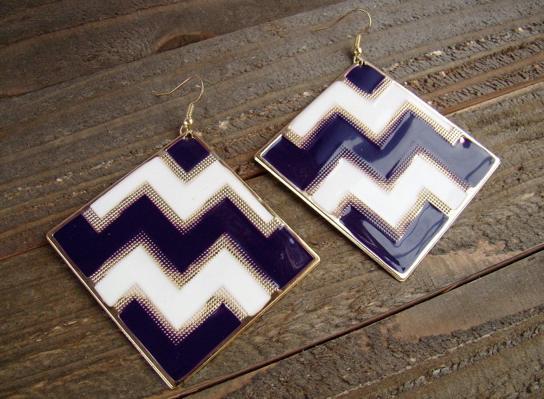 Purple White Chevron ZigZag Design Large Square Drop Dangle Hook Earrings Fashion Jewelry