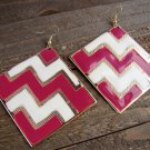 Pink White Chevron ZigZag Design Large Square Drop Dangle Hook Earrings Fashion Jewelry