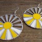 Yellow White Sunburst Silver Wheel Fan Circle Round Dangle Hook Earrings Fun Fashion Jewelry