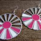 Pink White Sunburst Silver Wheel Fan Circle Round Dangle Hook Earrings Fun Fashion Jewelry