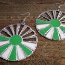Green White Sunburst Silver Wheel Fan Circle Round Dangle Hook Earrings Fun Fashion Jewelry