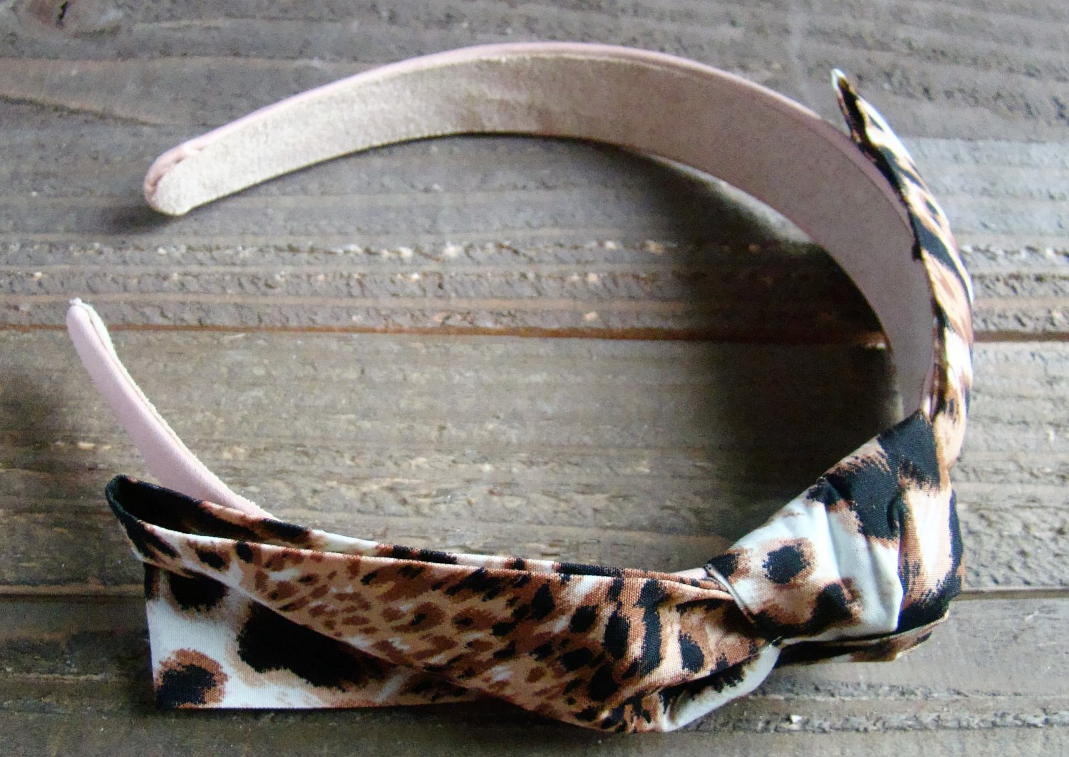 Brown Black White Rockabilly Animal Print Pattern Fabric Bow Headband Fashion Hair Accessory