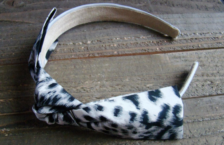 White Black Gray Rockabilly Animal Print Pattern Fabric Bow Headband Fashion Hair Accessory