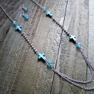 Turquoise Cross Rhinestones Blue Beads Long Necklace Earrings Set Cowgirl Jewelry