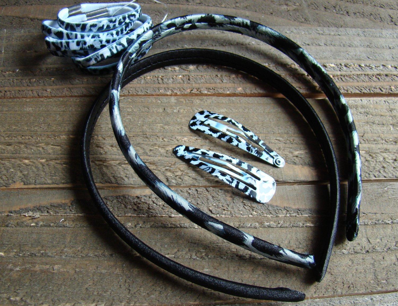 Black 10 PC Combo Set Animal Print Headbands Barrettes Ponytail Holders Hair Accessory