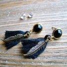 Gold Feather Black Tassel Rhinestone Dangle Earrings Set Boho Gypsy Cowgirl Fashion Jewelry