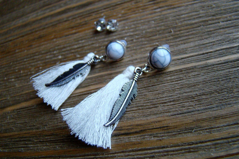 Silver Feather White Tassel Rhinestone Dangle Earrings Set Boho Gypsy Cowgirl Fashion Jewelry