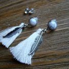 Silver Feather White Tassel Rhinestone Dangle Earrings Set Boho Gypsy Cowgirl Fashion Jewelry