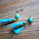 Gold Feather Blue Tassel Rhinestone Dangle Earrings Set Boho Gypsy Cowgirl Fashion Jewelry