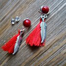 Silver Feather Red Tassel Rhinestone Dangle Earrings Set Boho Gypsy Cowgirl Fashion Jewelry