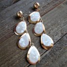 Tear Drop White Mother Of Pearl Shell Gold Tone Long Chandelier Earrings Fashion Jewelry