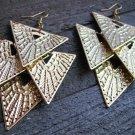 "4"" Long Gold Cascading Geometric Triangle Dangle Chandelier Earrings Fashion Jewelry"