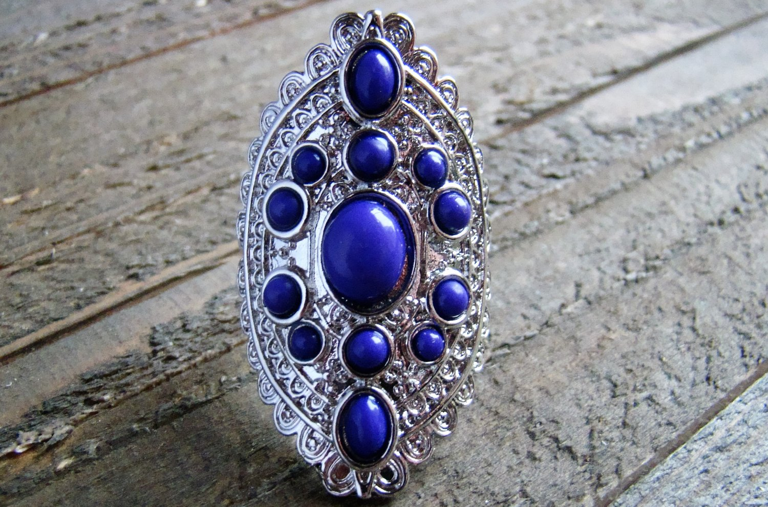 Purple Gypsy Boho Style Statement Ring Silver Tone Oval Adjustable Fashion Jewelry