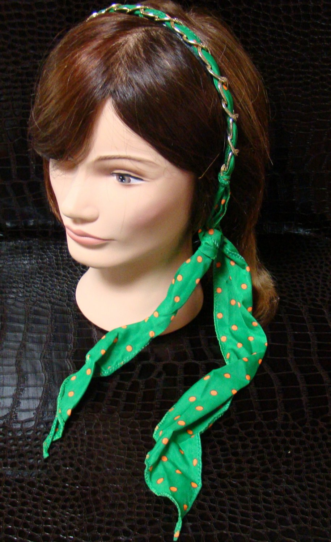 Polka Dot Green Fabric Scarf Headband Twist Tie Chain Link Wrap Fashion Hair Accessory