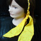 Polka Dot Yellow Fabric Scarf Headband Twist Tie Chain Link Wrap Fashion Hair Accessory
