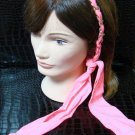 Polka Dot Pink Fabric Scarf Headband Twist Tie Chain Link Wrap Fashion Hair Accessory