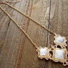 Filigree Triple Simulated White Stone Pendant Gold Chain Necklace Cowgirl Fashion Jewelry