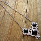 Filigree Triple Simulated Black Stone Pendant Silver Chain Necklace Cowgirl Fashion Jewelry