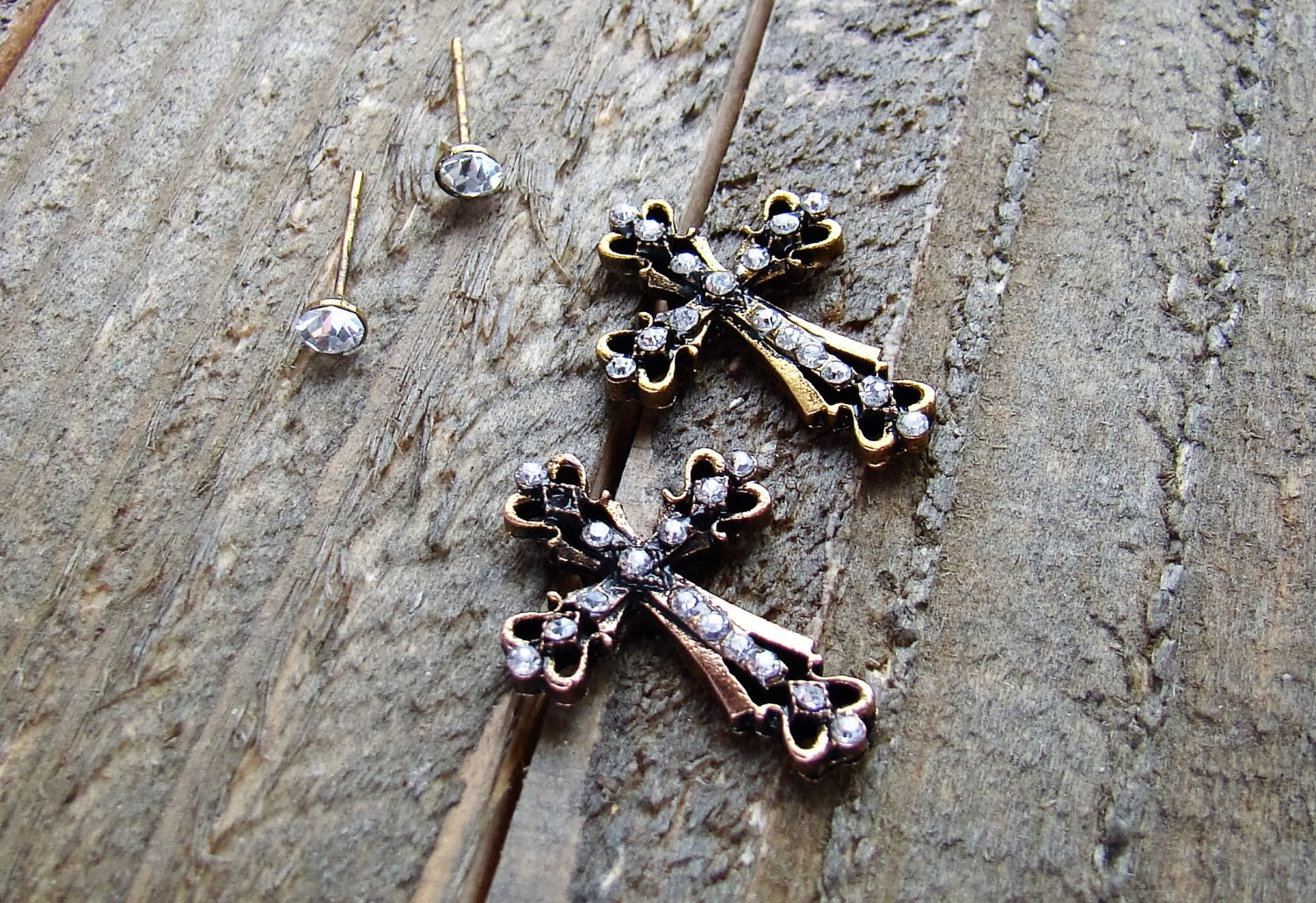 Rhinestone Burnish Gold Cross Stud Set of 2 Pair Earrings Cowgirl Fashion Jewelry Silver Gold