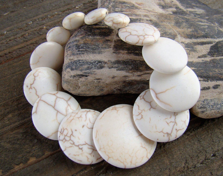 Graduated Flat Off White Stone Chunky Stretch Bracelet Fashion Statement Jewelry Colorful