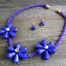 Triple Purple Flower Rope Cord Statement Necklace Earrings Set Fun Fashion Jewelry