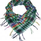 Multi-Color Womens Houndstooth Plaid Checker Fringed Polyester Scarf Shaw Wrap Accessory