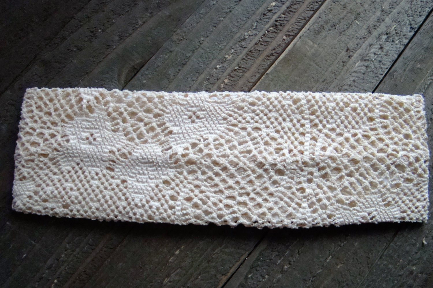 Cream Crochet Knit Woven Lace Stretch Wide Headband Wrap Hair Accessory Polyester