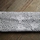 Gray Crochet Knit Woven Lace Stretch Wide Headband Wrap Hair Accessory Polyester