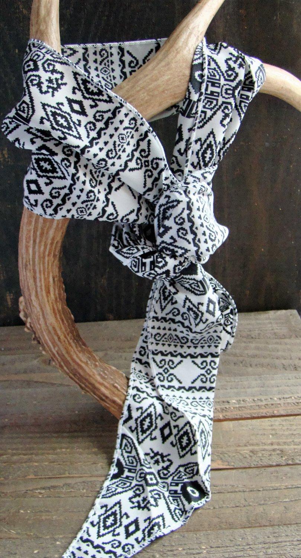 White with Black Aztec Print Long Scarf Versatile Fashion Belt Hair Accessory