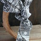 White with Black Aztec Print Long Scarf Versatile Fashion Belt Hair Accessory