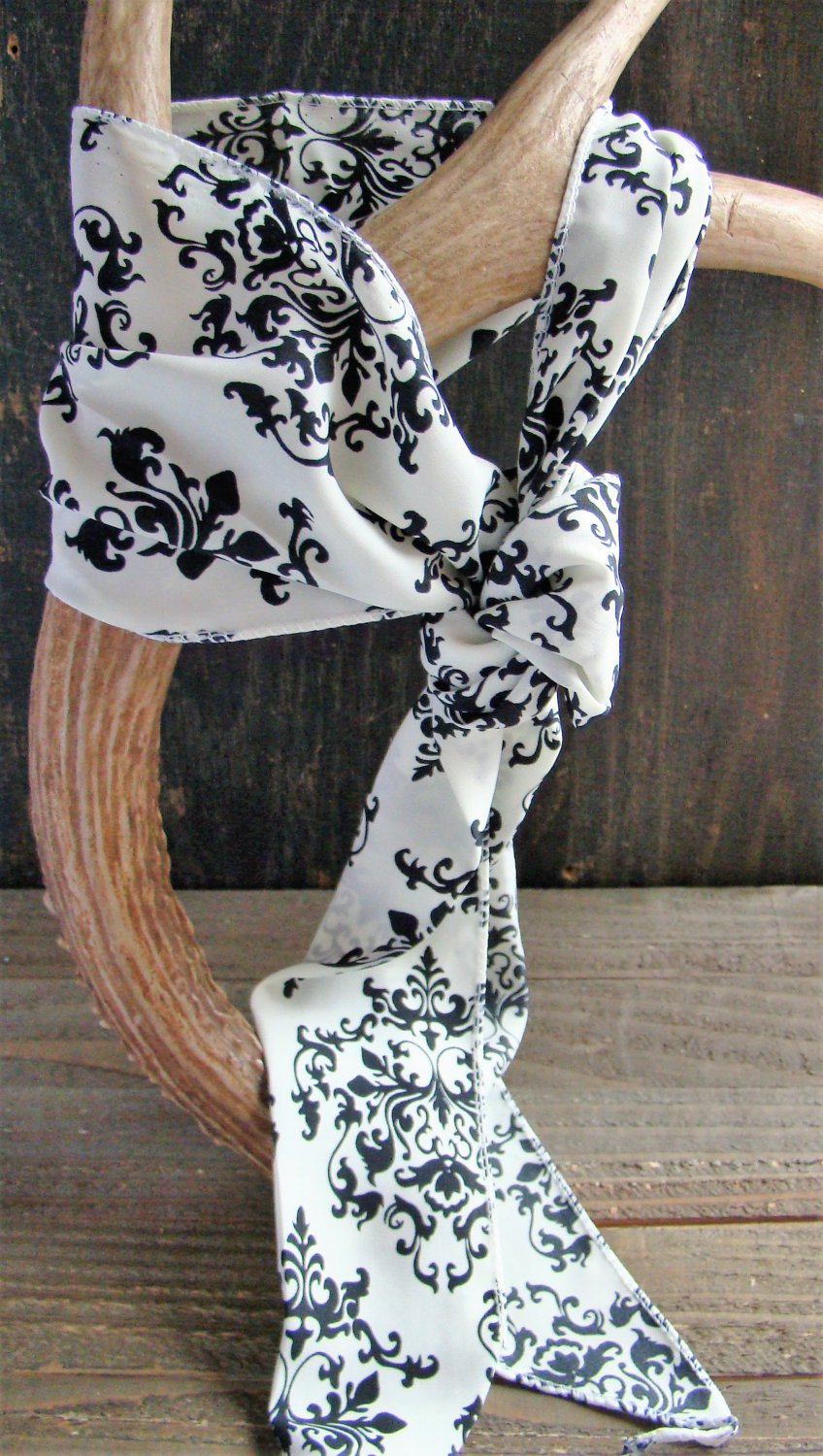 White with Black Filigree Print Long Scarf Versatile Fashion Belt Hair Accessory