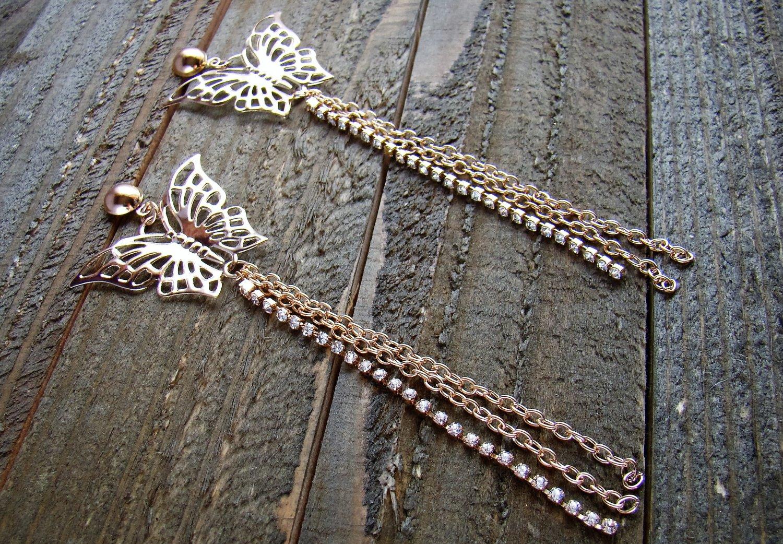 """5"""" Long Gold Butterfly Drop Dangle Alloy Chain Rhinestones Earrings Fashion Jewelry"""