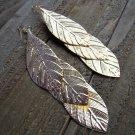 """5""""+ Long Triple Gold Leaf Dangle Hook Statement Earrings Gypsy Boho Fashion Jewelry"""
