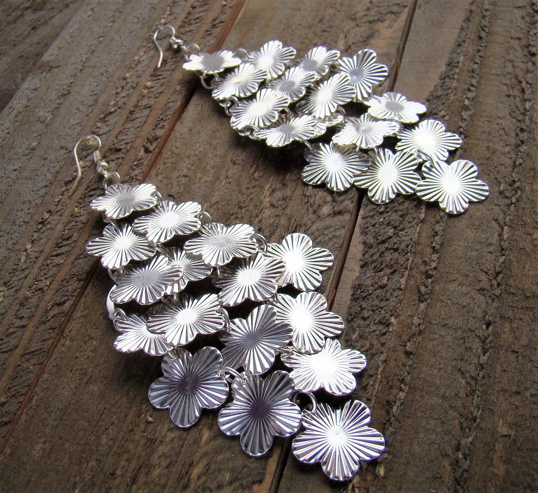 Long Cascading Silver Tone Multi Flowers Chandelier Earrings Jewelry Alloy