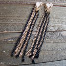 "4"" Long Dangle Black & Gold Tassel Earrings Heart Stud Fashion Jewelry"