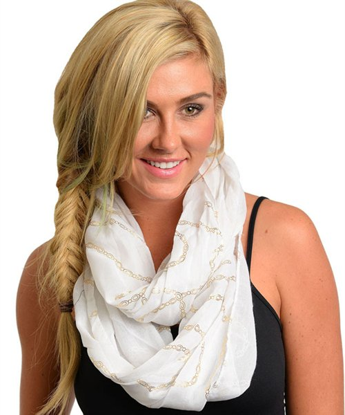 Infinity Cowl Scarf Wrap Fashion Accessory White with Gold Chain Print Detail