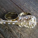Rhinestones Gold Guitar Adjustable 2 Finger Statement Fashion Ring Jewelry