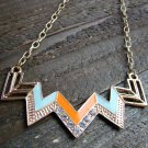 Orange & Blue Chevron Zig Zag Rhinestones Adjustable Chain Statement Necklace Fashion Jewelry