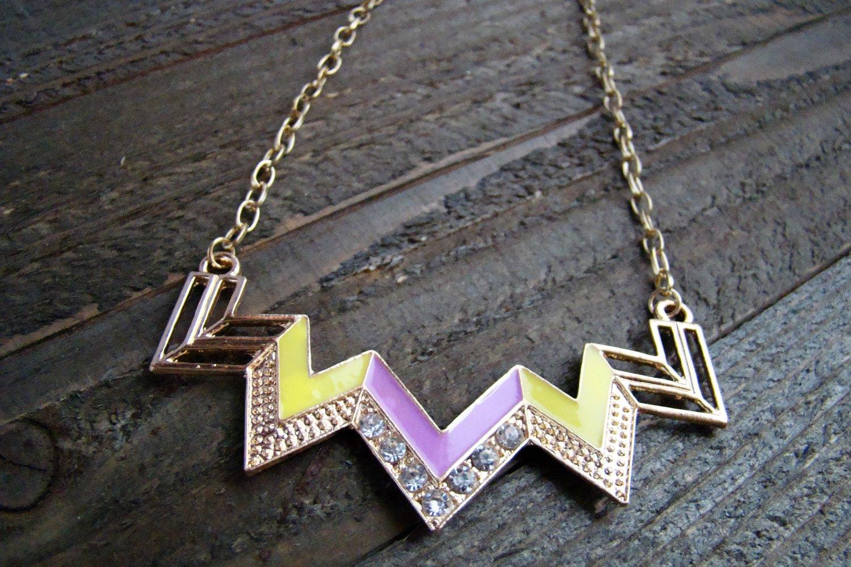 Purple & Yellow Chevron Zig Zag Rhinestones Adjustable Chain Statement Necklace Fashion Jewelry