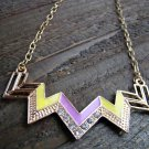 Purple & Yellow Chevron Zig Zag Rhinestones Adjustable Chain Statement Necklace Fashion Jewelry