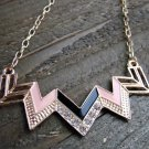 Black & Pink Chevron Zig Zag Rhinestones Adjustable Chain Statement Necklace Fashion Jewelry