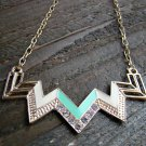 Green & Cream Chevron Zig Zag Rhinestones Adjustable Chain Statement Necklace Fashion Jewelry