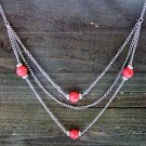 "Long 32"" 3 Layer Multi Coral Bead Rhinestones Chain Necklace Cowgirl Fashion Jewelry"